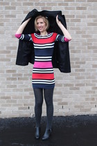stripe French Connection dress - black dress JCrew Factory coat