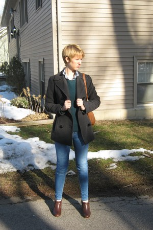 gray pea Kenneth Cole coat - skinny Guess jeans - J Crew sweater