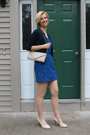 nude franco sarto pumps - lace Marshalls dress - Aldo bag - navy JCrew cardigan