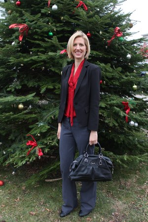 red eShakti top - black Sheinside blazer - black coach bag - gray Express pants