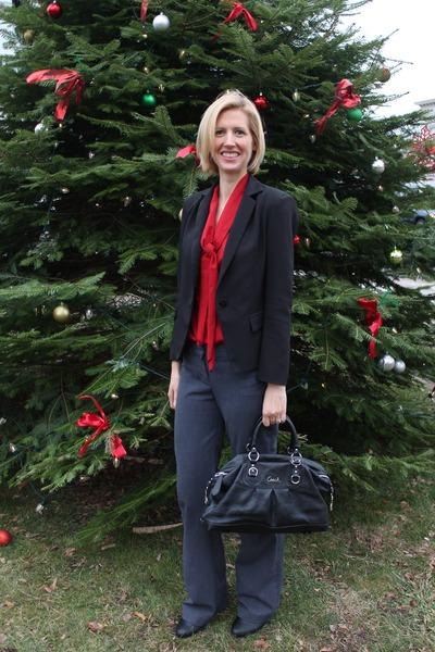 red eShakti top - black Sheinside blazer - black coach bag - gray Express pants