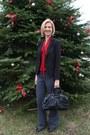 Black-sheinside-blazer-black-coach-bag-red-eshakti-top-gray-express-pants
