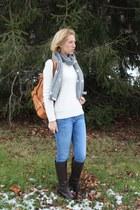 polka dot banana republic scarf - JCrew sweater - camel Sole Society bag
