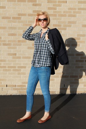 plaid JCrew shirt - skinny Guess jeans - school boy JCrew blazer
