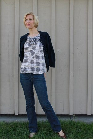 geometric JCrew blouse - dark JCrew jeans - hobo calvin klein bag