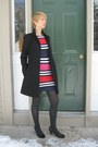 Striped-french-connection-dress-black-j-crew-coat