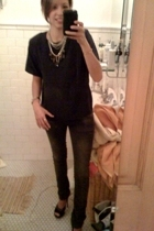 vintage top - Zara jeans - Bebe shoes - forever 21 necklace - forever 21 necklac