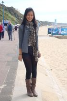 gray H&M blazer - beige Mango top - blue Topshop shorts - black Topshop stocking