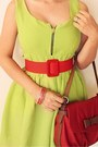Red-belt-lime-green-dress-red-bag-tan-headband-bow-accessorize-accessories
