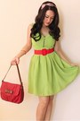 Lime-green-dress-red-bag-tan-peep-toe-charles-keith-heels