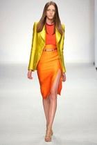 gold Aquilano blazer - carrot orange Aquilano top - orange Aquilano skirt - belt