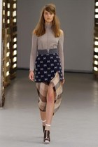 dark brown mod Rodarte shoes - Rodarte skirt - heather gray Rodarte top