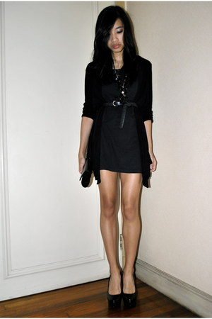 black Zara cardigan - black Forever 21 heels - black Forever 21 necklace