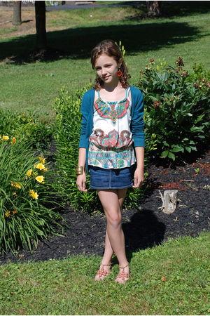 green Epic Threads top - green H&M cardigan - blue Gap skirt - orange Nina shoes