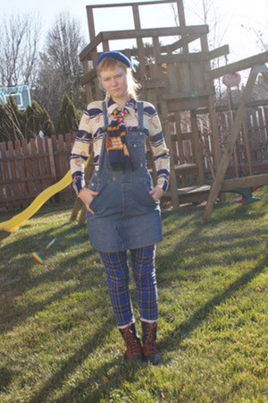 blue diy Old Navy dress - navy Bass boots - blue tripp jeans - blue vintage hat