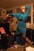blue vintage dress - red Converse belt - tights - blue Target shoes - purple Tar