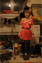navy Bass boots - hot pink dress - black Top Shop tights