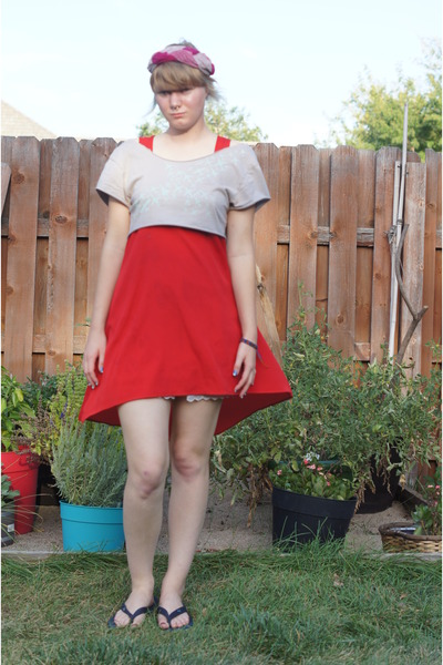 red Lush dress - hot pink vintage mr john hat - heather gray diy Old Navy top