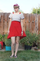 red Lush dress - hot pink vintage mr john hat - heather gray diy Old Navy top