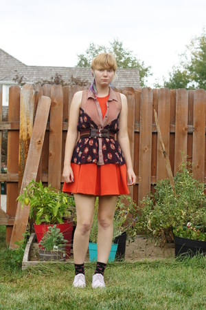 tan Lush top - orange Cooperative dress - black Betsey Johnson socks
