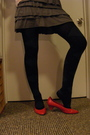 Black-ralph-lauren-tights-red-shoes-yellow-urban-outfitters-shirt-gray-wet