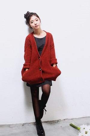 ruby red kara cardigan - gray Gigos dress - black D&G boots