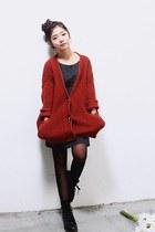 ruby red kara cardigan - gray Gigos dress - black D&G boots