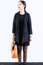 navy Zara coat - black YiSHiON dress - orange Gucci bag
