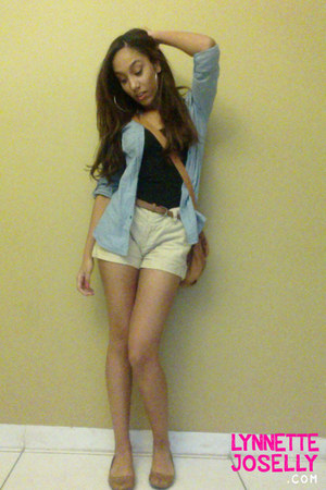 black Papaya clothing top - tan Forever 21 shorts - sky blue Ross blouse