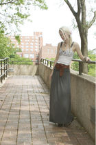 gray April skirt - white A & F top - brown A & F belt - brown jordache shoes - b