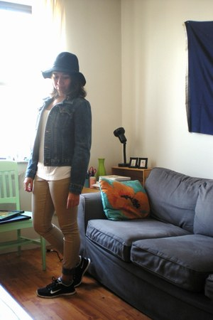 black Target hat - gold H&M jeans - blue Earl Jeans jacket - black nike sneakers