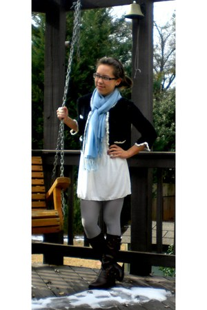 SHM boots - Max Studio dress - kohls tights - Oops Company scarf - D&G glasses -