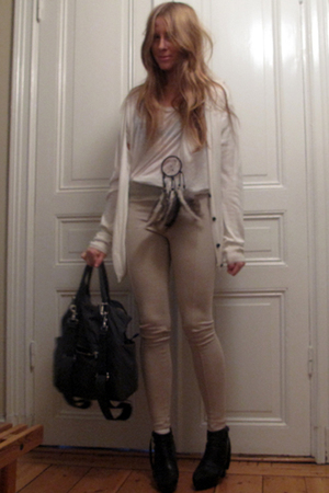 beige Zara leggings - blue APC accessories - white acne sweater - white acne t-s