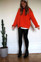 orange vintage sweater - black H&M skirt - white vintage accessories - black acn