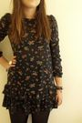 Blue-new-look-dress-red-vintage-cardigan-black-primark-tights-white-access