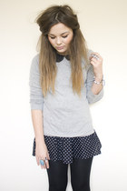 silver Primark shirt - black polka dot H&M skirt