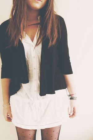 black asos cardigan - white new look dress - black Primark tights