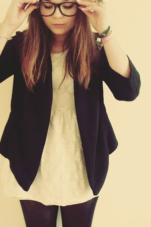 black Topshop blazer - beige new look dress - black Primark tights