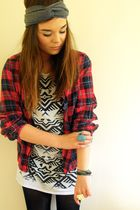 red Topshop shirt - white Topshop dress - gray Babooshka Boutique hat