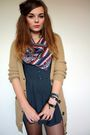 Beige-primark-cardigan-gray-primark-dress-blue-primark-scarf