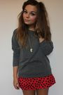 Gray-h-m-jumper-red-h-m-skirt-black-zara-taylor-accessories