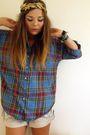 Blue-topshop-shirt-beige-primark-shorts-gold-my-mums-accessories