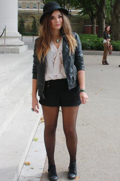 pink new look shirt - black H&M shorts - black Primark jacket - black new look s