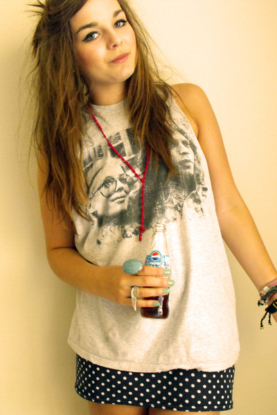 gray Topshop t-shirt - red knotted rosary Ebay accessories