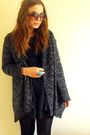 Black-new-look-dress-gray-new-look-cardigan-blue-h-m-accessories-brown-h-m
