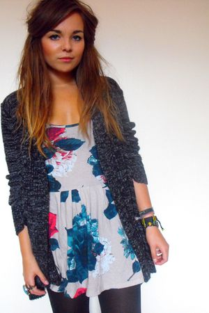 gray speckled chunky new look cardigan - gray floral printed Primark dress