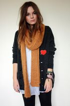 black vintage cardigan - yellow Zara scarf - white Pussycat London dress - red P