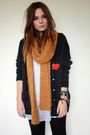 Black-vintage-cardigan-yellow-zara-scarf-white-pussycat-london-dress-red-p