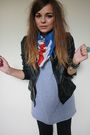 Black-primark-jacket-silver-american-apparel-dress-blue-new-look-scarf