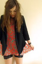 orange Topshop dress - black draped jersey Topshop blazer - black H&M shorts